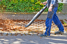 Man using a leaf blower to clear leaves from cobblestone path