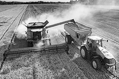 Black and white photo of an agricultural fleet at work in a field