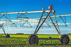 Color image of an agricultural water management system in a farm field