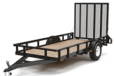 Color image of a black flatbed trailer with a pull hitch
