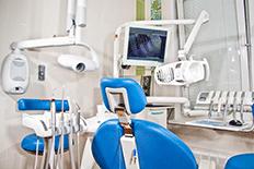 Color image of a dental examination room wth dental equipment