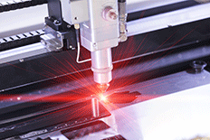 Close up of plasma cutter during operation