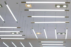 Ceiling with many suspended linear lighting units
